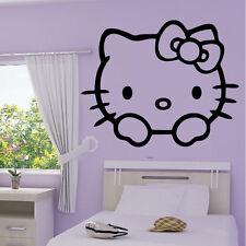 Stickers Tête Hello Kitty + Prénom Personnalisable - Choix taille-couleur