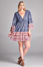 Cute Plus Size Pleated Chambray BoHo Gypsie Mini Dress Tunic 1X, 2X, 3X