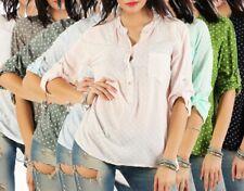 Blusa señora camisa blusa anotado 3/4 brazo escote en V High low asimétrico