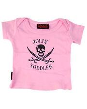 Darkside Clothing Jolly Toddler Pirate Skull Crossbones Pink Baby Toddler Tshirt