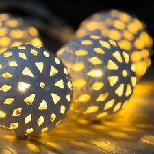 LED Leuchtkugelkette 10 weiße Leuchtelemente Lichterkette Leuchtdeko