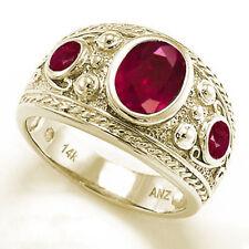 Men's Genuine Ruby Ring 14k Yellow Gold Ring