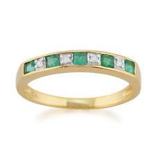 9ct Oro Amarillo 0.29ct Natural Esmeralda & Diamante Anillo De Media Eternidad