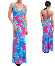 WOMENS Maxi Dress Sexy crisscross back Rusched V neck summer Tropical S M L