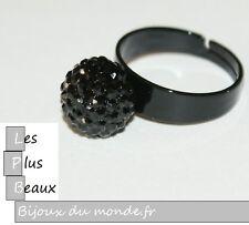 Bague NOIR strass Noir  STYLE SHAMBALLA  Boule STRASS Disco taille REGLABLE NEUF