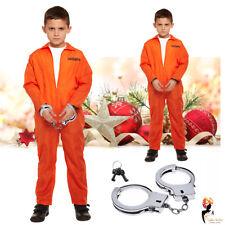 Kids Prisoner Suit Jumpsuit Costume Orange + Hand Cuffs Christmas Fancy Costume