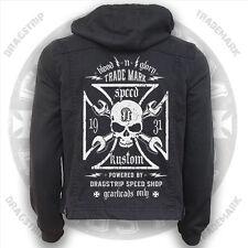 Dragstrip Kustom Blood N Glory Jeans Vest/ Greaser Hoody Hot Rod Gearhead Jacket