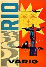 Brazil 1950 Rio de Janeiro Vintage Poster Print Retro Style Travel Tourism Decor