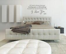 Me gustaría utilizar sería mi último aliento decir te amo Dormitorio Hogar Adhesivo Pared Arte