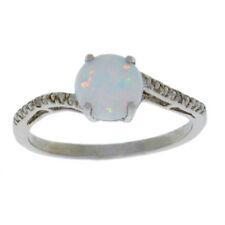 14Kt White Gold Opal & Diamond Round Ring