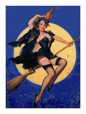 Vintage Pin-Up Halloween Witch Cross-Stitch Pattern