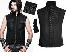 Veste jeans gilet zippé gothique punk fashion délavé tressé crête Punkrave Homme