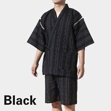 Mens Japanese Pyjama Sets Yukata Jinbei Traditional Kimono Nightwear Stripe