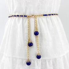 Women's Lady Chain Pearl Rhinestone Wide Elastic Stretch Casual Waist Belt LJ