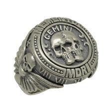 Gemini skull zodiac sterling silver 925 biker mens ring Memento Mori Masonic