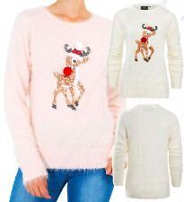 Womens Christmas Jumper Sequin Deer Xmas Size 10 - 14 Cream Pink Novelty
