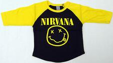 NIRVANA Raglan T-shirt Kurt Cobain 3/4sleeve Baseball Tee 6M,12M,18M,24M New
