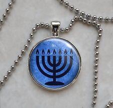 Blue 7 Branch Temple Menorah Hanukkah Jewish candelabrum Pendant Necklace