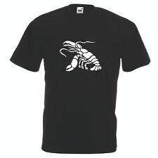 T-shirt maglia cotone donna uomo nera con disegno granchio