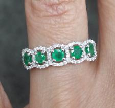 Deal! 0.80 CTW: 0.60CT Genuine Emerald & 0.20CT Diamond ladies Ring 14K Gold