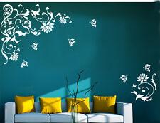 Wandtattoo wandfolie Blumenranke Schmetterlinge  Wallsticke Ranke Blumen wpf39