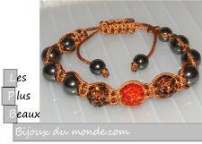 Bracelet STYLE SHAMBALLA ROUGE & Brun hématite 3 Boules DISCO & macramé NEUF