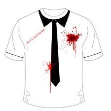 Adult Halloween Bleeding Bullet Scar With Black Tie T-Shirt