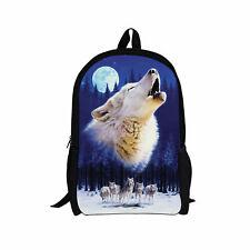 Wolf Animal Backpack Rucksack School Bag Girl Boy College Shoulder Bag Teenagers