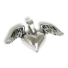 Kautschuk Halskette Silber Anhänger Herz Flügel Damen schwarz Schmuck schöne Sie
