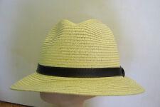 Yellow Toyo Straw Safari FEDORA HAT Brown Vinyl Band retro summer bucket S/M 57