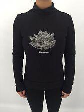 b0063 Damen Violet Pullover Sweater mit Strass und Nieten hoher Kragen schwarz