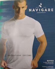 3 T-Shirt da uomo in cotone girocollo mezza manica maglia intima Navigare 513