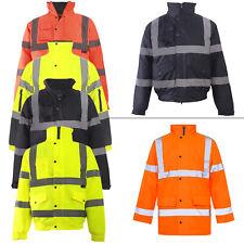 Mens Hi Vis Visibility Two Tone Waterproof Padded Warm Workwear Jacket Plus Size
