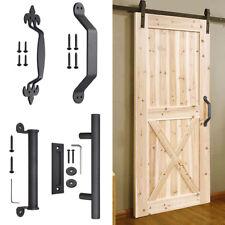 Sliding Barn Door Pull and Flush Door Handle Set Matte Black 11