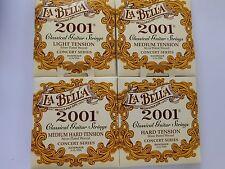 La Bella 2001 concert classique plaqué argent nylon cordes guitare 4 tensions
