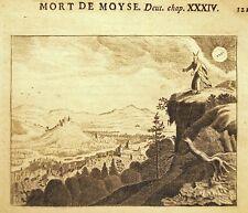 GRAVURE 17è 18è BIBLE DE ROYAUMONT Mort de Moïse Deut. Chap. XXXIV terre Chanaan