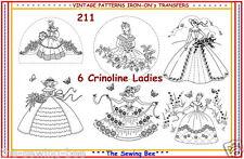 211 ~ 6 Crinoline Lady - Ladies Embroidery  IRON-ON Transfers Patterns