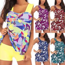 Women Plus Tankini Sets With Boy Shorts Bikini Swimwear Push-Up Padded Bra DA
