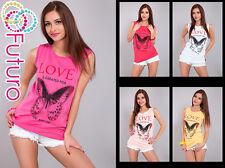 Ladies Vest Top LOVE Print Sleeveless Casual 100% Cotton T-Shirt Sizes 8-14 FB30