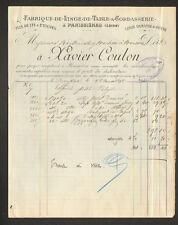 """PANISSIERES (42) USINE de LINGES DE TABLE & CORDASSERIE """"Xavier COULON"""" en 1898"""