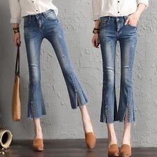 Vintage Women's Boot Cut Denim Slim Pants Trousers Bell-bottoms Jeans High Waist