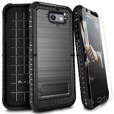 For Samsung Galaxy Sol 2 J3 Eclipse J3 Mission J327 Brushed Case+Tempered Glass
