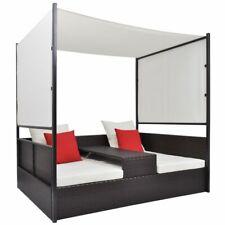 Sonnenliege / Polyrattan Lounge / Relaxliege / Gartenliege Doppelbett mit Dach
