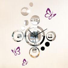 Wandtattoo Wandsticker Wandaufkleber Flur 3D Spiegel Uhr Schmetterlinge W3204