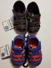 Garanimals NWT Toddler SIZE 3,4,5 Sandal *2 PACK* BROWN + BLUE/ORANGE LEATHER