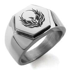 Stainless Steel Greek Mythology Phoenix Symbol Mens Hexagon Crest Signet Ring