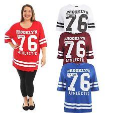 New Ladies Baseball Stripy 76 Brooklyn Over Size T shirts 12-26