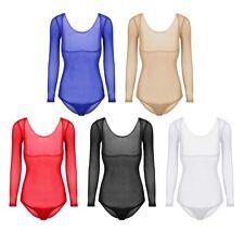Damen Langarm Body Transparent Brustfreies Bodysuit Bauchtanz Oberteil Kostüm