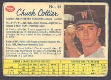 1962 POST CANADIAN BASEBALL 66 CHUCK COTTIER VG WASHINGTON SENATORS CARD