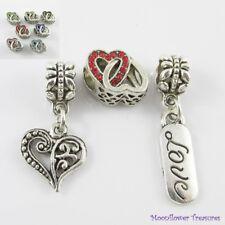 Love Linked Hearts Bead & Charm Gift Set fit European Charm Bracelet Pick Colour